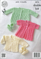 King Cole Comfort DK Pattern 4214 - Matinee Coats, Cardigan & Shoes
