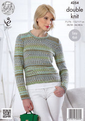 King Cole Drifter DK Pattern 4254 - Sweater & Cardigan