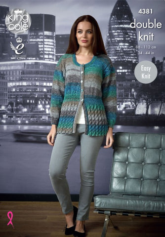 King Cole Shine DK Pattern 4381 - Ladies Cardigan & Sweater