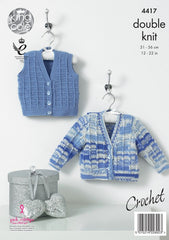 KIng Cole Cherish & Cherished DK Pattern 4417 - Crochet Cardigan & Waistcoat