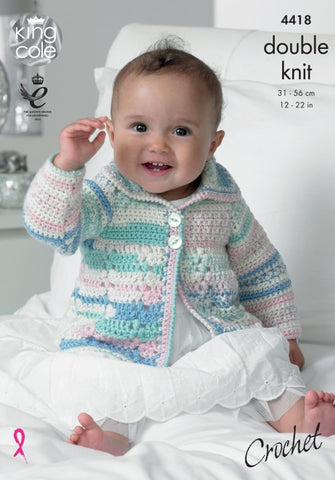 KIng Cole Cherish & Cherished DK Pattern 4418 - Crochet Coat & Blanket