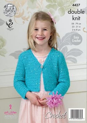 King Cole Galaxy DK Pattern 4427 - Crochet Short Cardigan