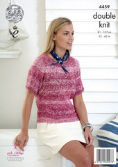 King Cole Vogue DK Pattern 4459 - Ladies Lace Sweaters & Snood