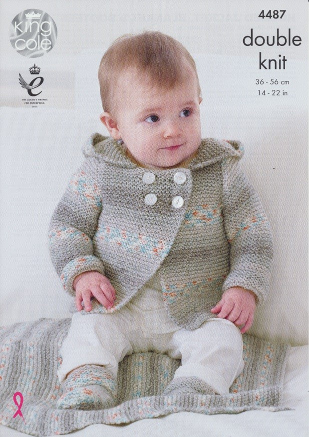 King Cole Drifter DK for Baby Pattern 4487 - Hooded Jacket, Blanket & Bootees