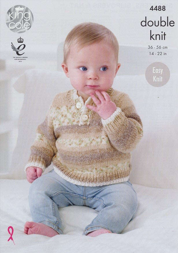 King Cole Drifter DK for Baby Pattern 4488 - Sweaters, Slipovers & Hat