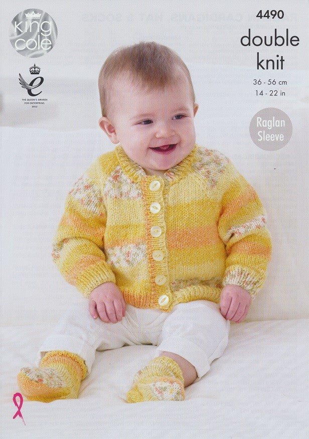 King Cole Drifter DK for Baby Pattern 4490 - Raglan Cardigans, Hat & Socks