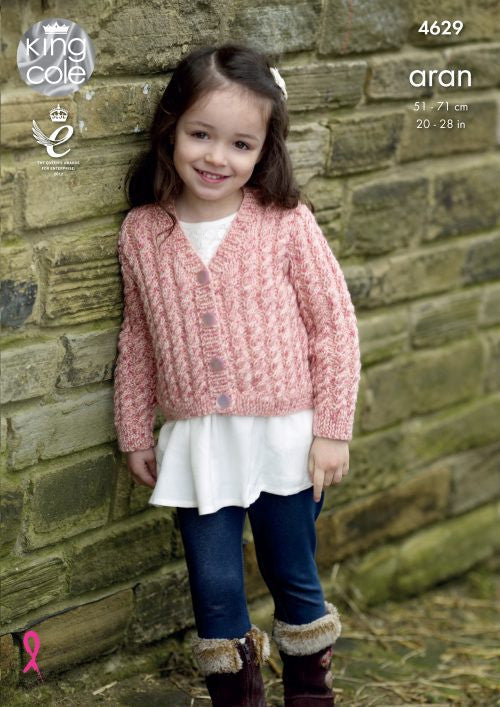 King Cole Fashion Aran Combo Pattern 4629 - Cardigans