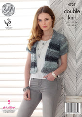 King Cole Shine DK Pattern 4727  Sweater & Cardigan