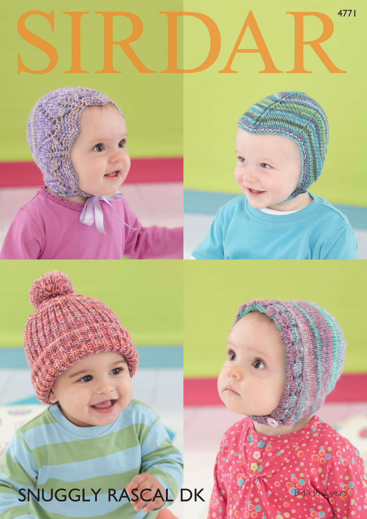Sirdar Snuggly Rascal DK Pattern 4771 - Baby Hats