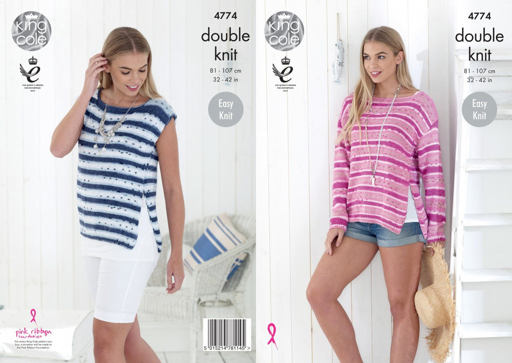 King Cole Cottonsoft Crush DK Pattern 4774 - Ladies' Sweaters