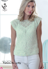 King Cole Giza Cotton & Sorbet 4 Ply Pattern 4789 - Crochet Tops