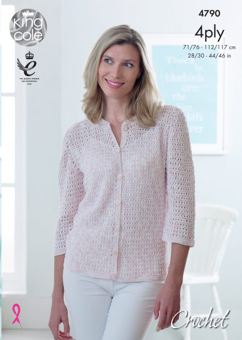 King Cole Giza Cotton & Sorbet 4 Ply Crochet Pattern 4790 -  Cardigan with ¾ Sleeves