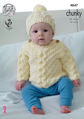 King Cole Big Value Baby Chunky Pattern 4847 - Sweater, Cardigan, Hat & Blanket