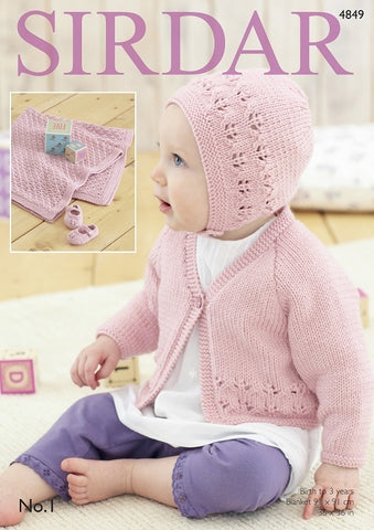 Sirdar No.1 DK Pattern 4849 - Cardigan, Bonnet, Shoes & Blanket