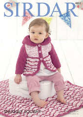 Sirdar Snuggly Squishy & Snowflake Pattern 4853 - Girls Hooded Coat & Blanket