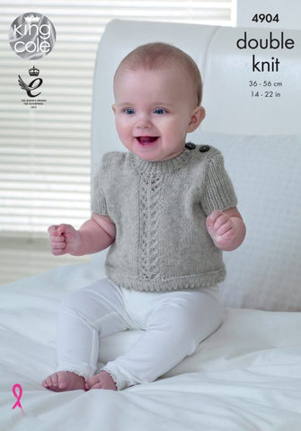 King Cole Baby Pure DK Pattern 4904 - Cardigans & Sweater