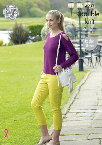 King Cole Luxury Merino DK Pattern 4933 - Cardigan & Sweater with keyhole sleeves