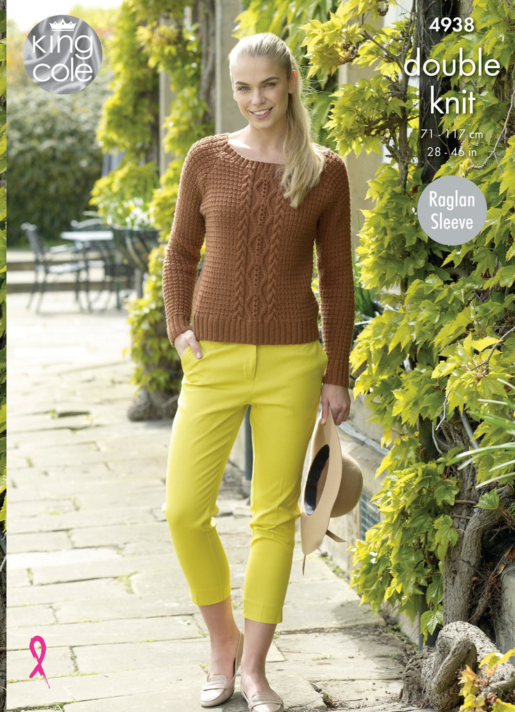 King Cole Luxury Merino DK Pattern 4938 - Sweater & Cardigan