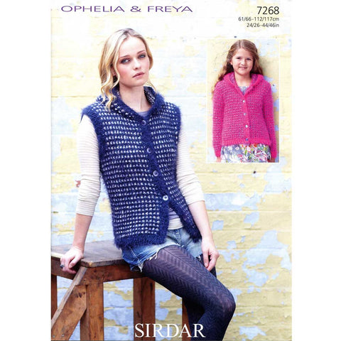 Sirdar Ophelia & Freya Gilet and Jacket Knitting Pattern 7268 - REDUCED - NOW 1.00