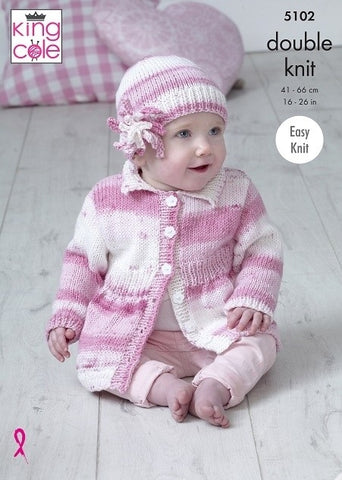 King Cole Cottonsoft Baby Crush DK Pattern 5102- Coats & Hat