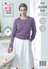 King Cole Cottonsoft DK Pattern 5127 - Sweater & Cardigan