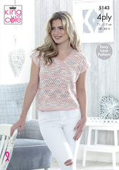 King Cole Giza Cotton & Sorbet 4 Ply Pattern 5143 -  V Neck & Wide Neck Tops