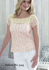 King Cole Giza Cotton & Sorbet 4 Ply Pattern 5144 - Crochet Sleeveless & Short Sleeve Tops