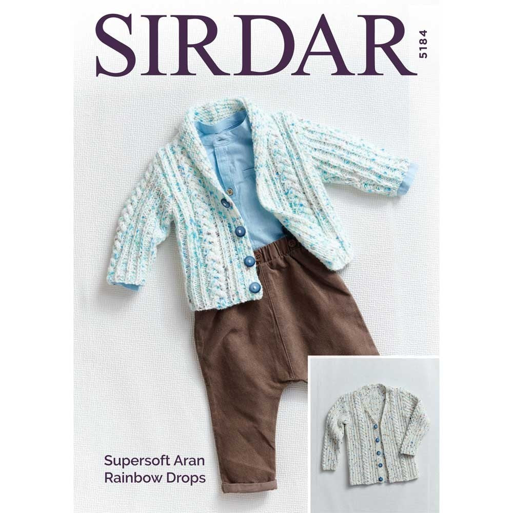 Sirdar Supersoft Aran Rainbow Drops Pattern 5184 - Cardigans