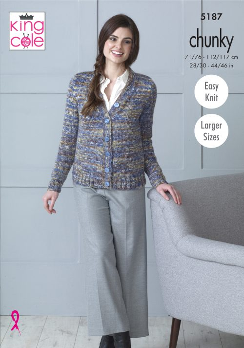 King Cole Shadow Chunky Pattern 5187 -  Cardigan & Sweater