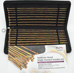"KnitPro Symfonie Wood Straight Single Point Knitting Needle Set 14"" 35cm length"