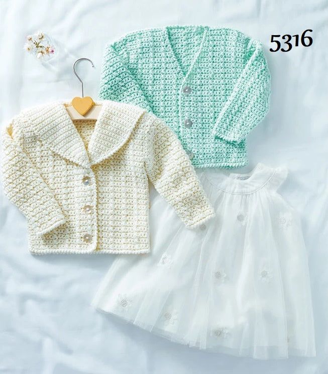 Sirdar Snuggly Soothing DK Crochet Pattern 5316  -  Girl's V-Neck & Collared Cardigan