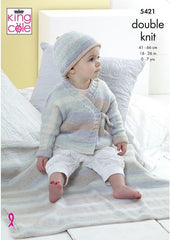 King Cole Beaches DK Pattern 5421 - Cardigan, Hat & Blanket