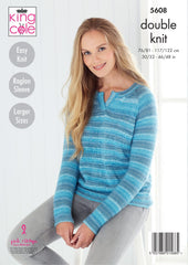 King Cole Island Beaches DK Pattern 5608 - Sweater & Cardigan