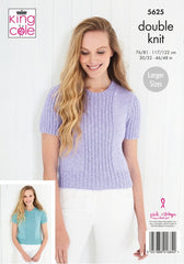 King Cole Cotton Top DK Pattern 5625 - Cardigan & Top