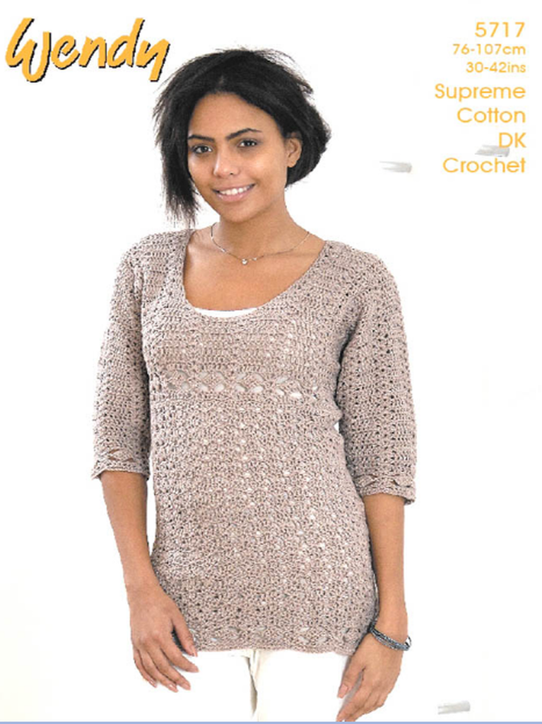 Wendy Supreme Luxury Cotton DK Pattern 5717 - Crochet Tunic
