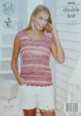 King Cole Vogue DK Crochet Pattern 4494 - T-Shirt & Vest