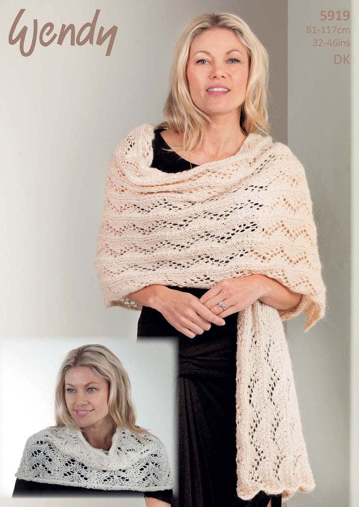Wendy Celeste DK   Pattern 5919  - Knitted Shoulder Warmer & Wrap
