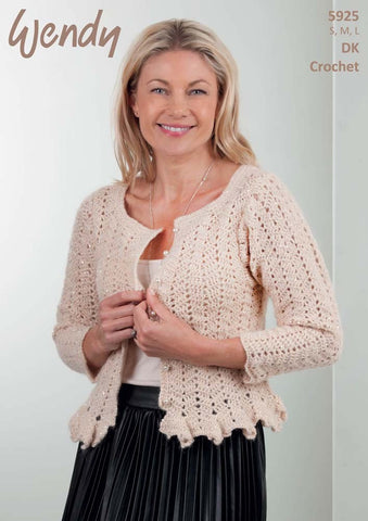 Wendy Celeste DK Pattern 5925 - Crochet Ladies Cardigan