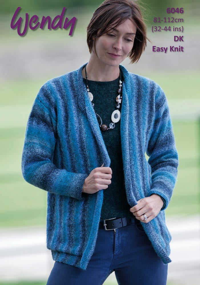Wendy Aurora Dk Pattern 6046 Sideways Knit Cardigan Crafty