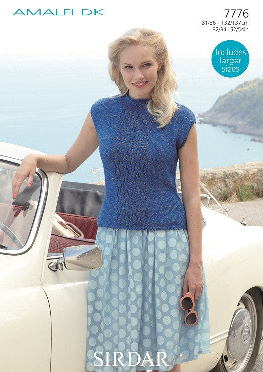 Sirdar Amalfi Dk Pattern  7776 - Vest top with lace panel - NOW €1.00