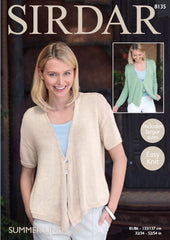 Sirdar Summer Linen DK Pattern 8135  Cardigan with Draped Fronts