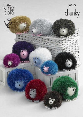 King Cole Tinsel Chunky Pattern 9015 Knit Hedgehog Toys