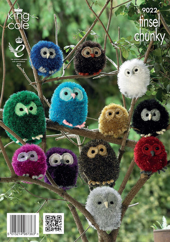 King Cole Tinsel Chunky Pattern 9022 Knit Tinsel Owls