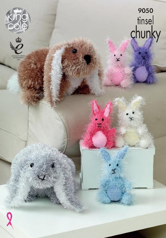King Cole Tinsel Chunky Knitting Pattern 9050 - Range of Rabbits