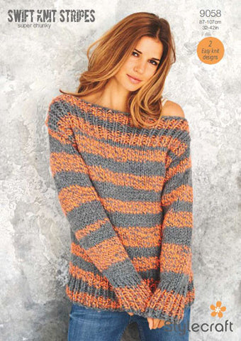 Stylecraft Swift Knit Strips Pattern 9058 Boyfriend Sweater & Beanie Hat