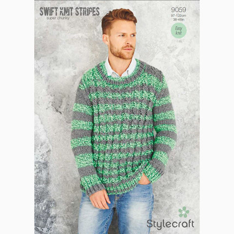 Stylecraft Swift Knit Strips Pattern 9059 Mens Sweater
