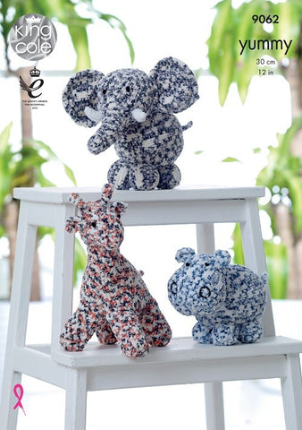King Cole Yummy Pattern 9062 - Giraffe, Hippo & Elephant Toys