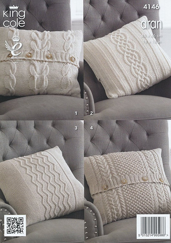 King Cole Big Value Recycled Cotton Aran Pattern 4146 - Cushion Covers