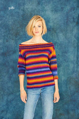 Stylecraft Cabaret DK - Pattern 9181  - Knitted Ladies Boat Neck Button Back Sweater