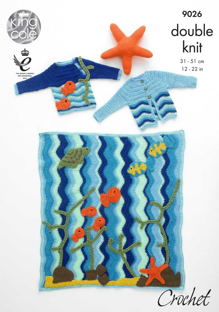 King Cole Pricewise DK Crochet Pattern 9026 - Under the Sea Blanket, Jumper, Cardigan & Starfish Toy